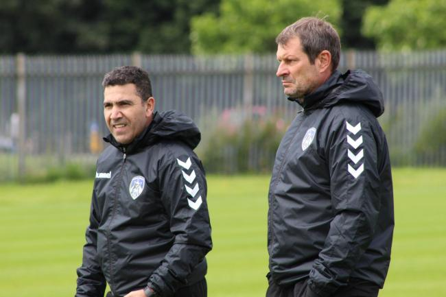 Laurent Banide oversees training. Picture: Oldham Athletic