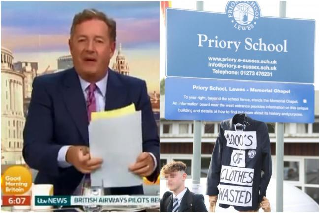 Piers Morgan threatens to wear a SKIRT to his old school after introduction of 'gender neutral' uniform
