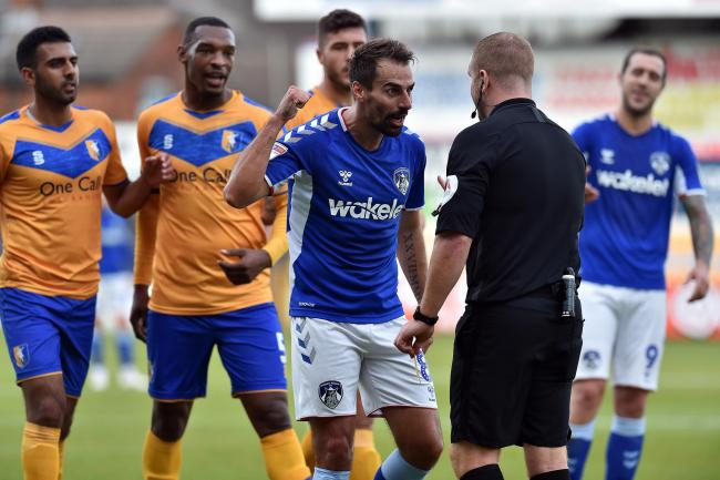 Filipe Morais was one of two Oldham players sent off. Picture: Eddie Garvey