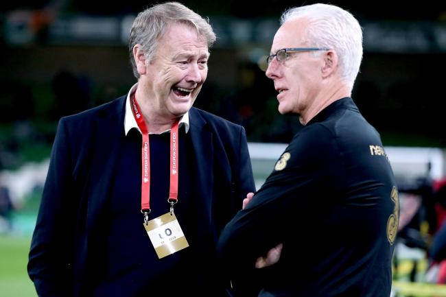 Denmark manager Age Hareide (left) has tipped Mick McCarthy's Ireland to join them at the Euro 2020 finals