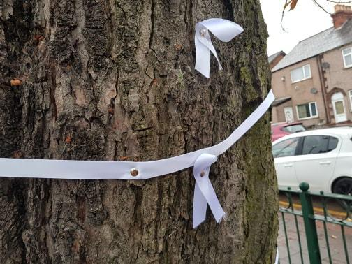 The white ribbons symbolise hope