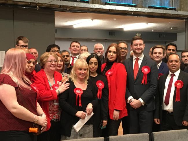 Labour campaigners celebrate Jim McMahon\'s win in Oldham West and Royton