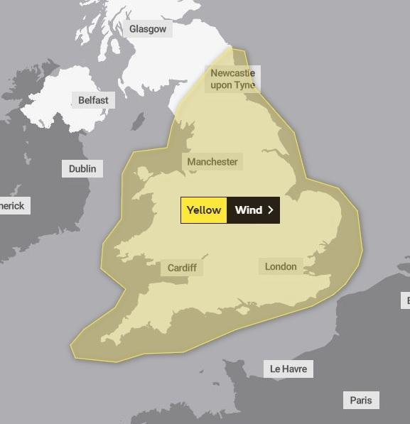 Wind warning across England and Wales. January 14, 2020