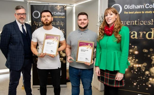 From left, Oldham College Principal Alun Francis, Apprentice of the Year winners Matthew Cunningham and Jonathan Sherratt, and Angela Rayner