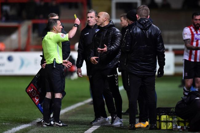 Dino Maamria shows his frustration against Exeter. Picture: Eddie Garvey