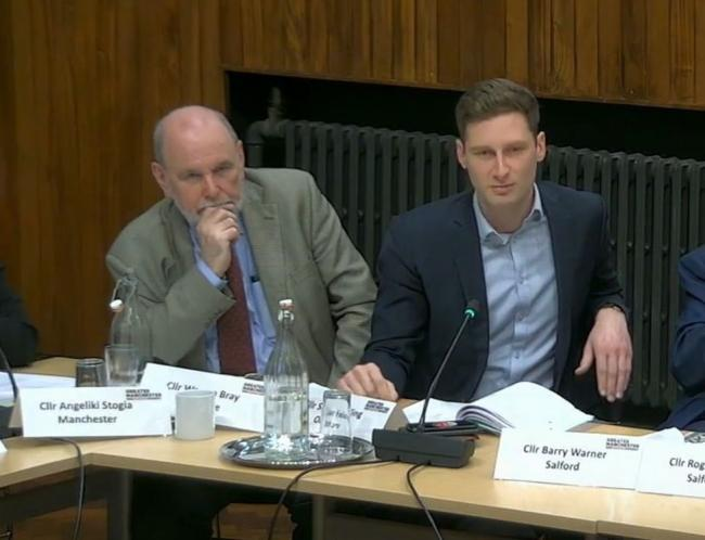 Cllr Fielding, right, at the Greater Manchester transport committee meeting