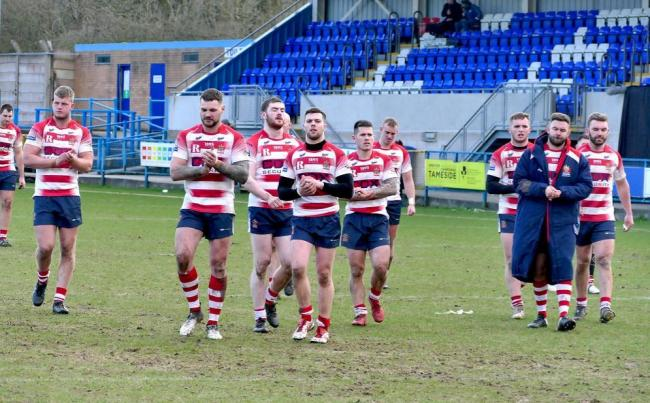 Oldham players following their defeat to Bradford Bulls. Match pictures by David Naylor / David Murgatroyd