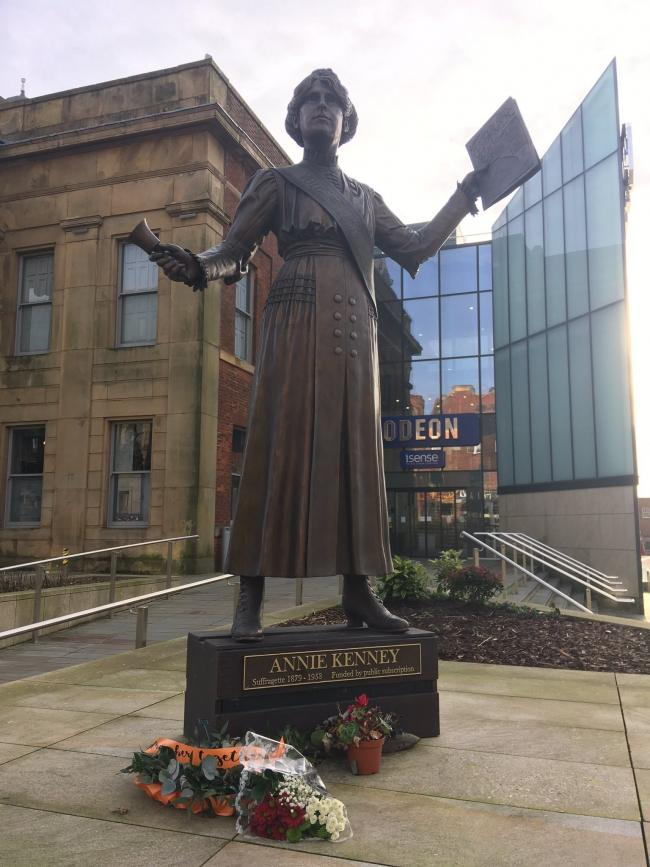 Oldham's Annie Kenney statue outside the Old Town Hall
