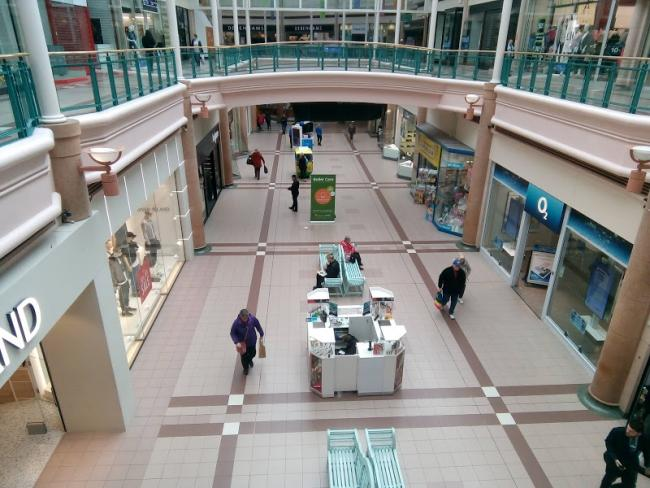 Oldham's deserted shopping mall during the lockdown