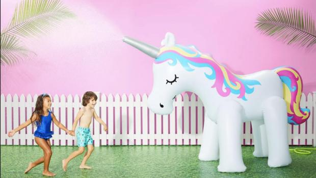 The Oldham Times: This unicorn sprinkler looms above kids, but it's a good size for adults, too. Credit: Sun Squad