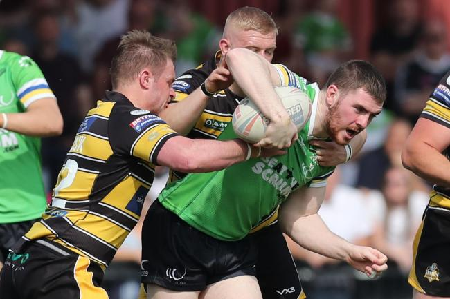 Ryan Ince, pictured in Widnes action, played on loan for Roughyeds before lockdown struck. Picture: Ash Allen/SWpix.com