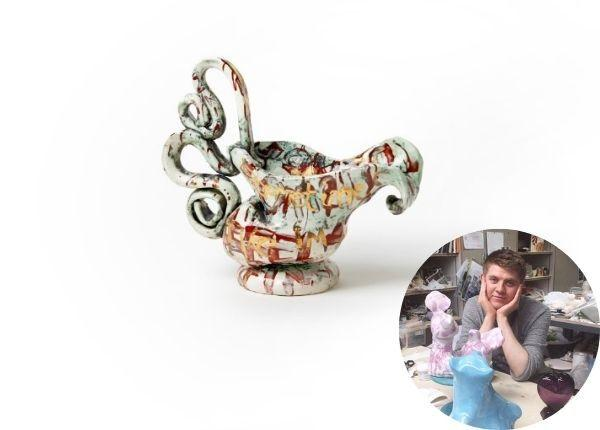 RECOGNITION: The prize-winning ewer and, inset, artist Connor Coulston