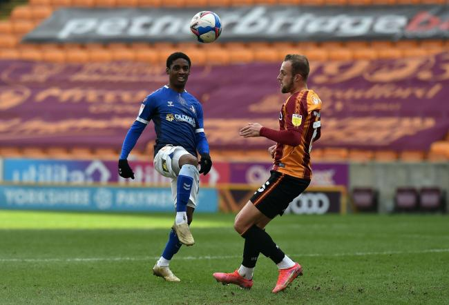 Dylan Fage in action for Latics at Bradford. Picture: Eddie Garvey
