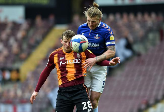 Danny Rowe in action for Bradford against Latics. Picture: Eddie Garvey