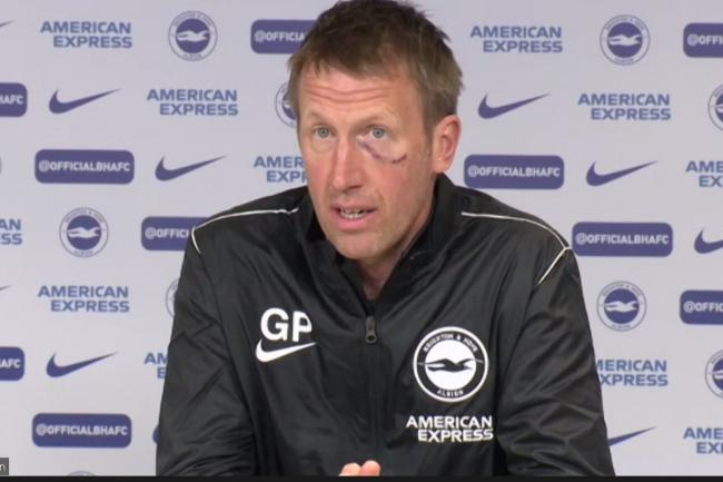 Brighton boss Graham Potter suffered a nasty injury while walking on a beach