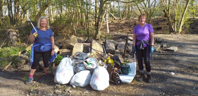 LITTER PICKERS: Jackie Chester and  Diane Allen are taking action