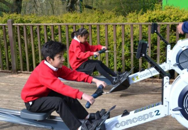 Every child in the school took part to see how many metres they could row in one minute