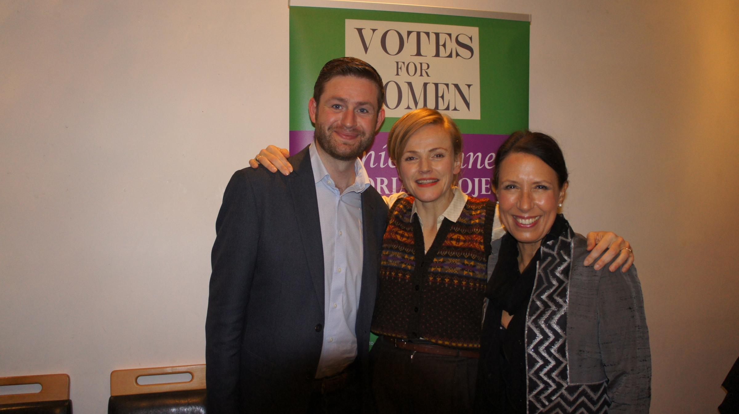 From left, Jim McMahon, MP for Oldham West and Royton, Maxine Peake, and Debbie Abrahams, MP for Oldham East and Saddleworth. Actress Maxine Peak backs calls for a statue honouring Oldham-Born Suffragette Annie Kenney. Pictured at the event at the Blue Ti