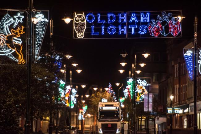 christmas lights switch on in oldham pic shows high street lights - Local Christmas Light Shows