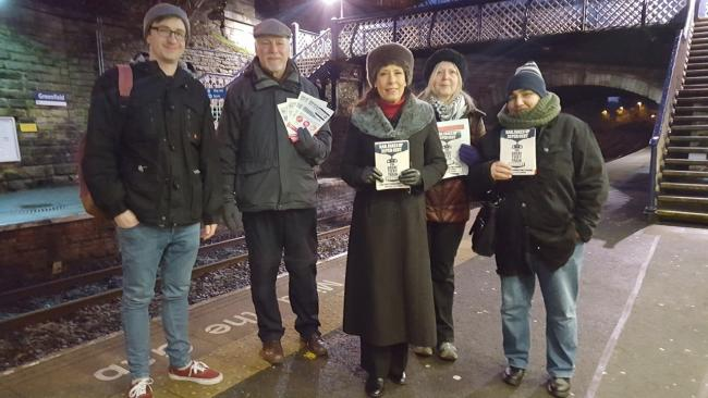 Oldham East and Saddleworth MP Debbie Abrahams with campaigners at Greenfield Station against a rise in rail fares