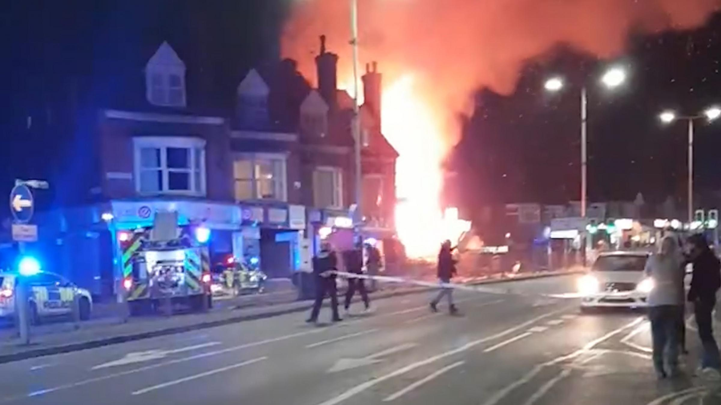 "RETRANSMITTED CORRECTING DATE..BEST QUALITY AVAILABLE..Handout video grab courtesy of Graeme Hudson of the scene after a ""major incident"" was declared by police after reports of an explosion in Leicester. At around 7.03pm Leicestershire Fire and"