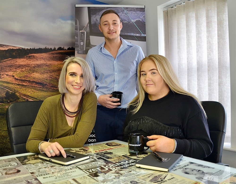 From left, Zuzana Alstockova, Steven MacDonald and Harriet Donoghue of Cornerstone Design & Marketing