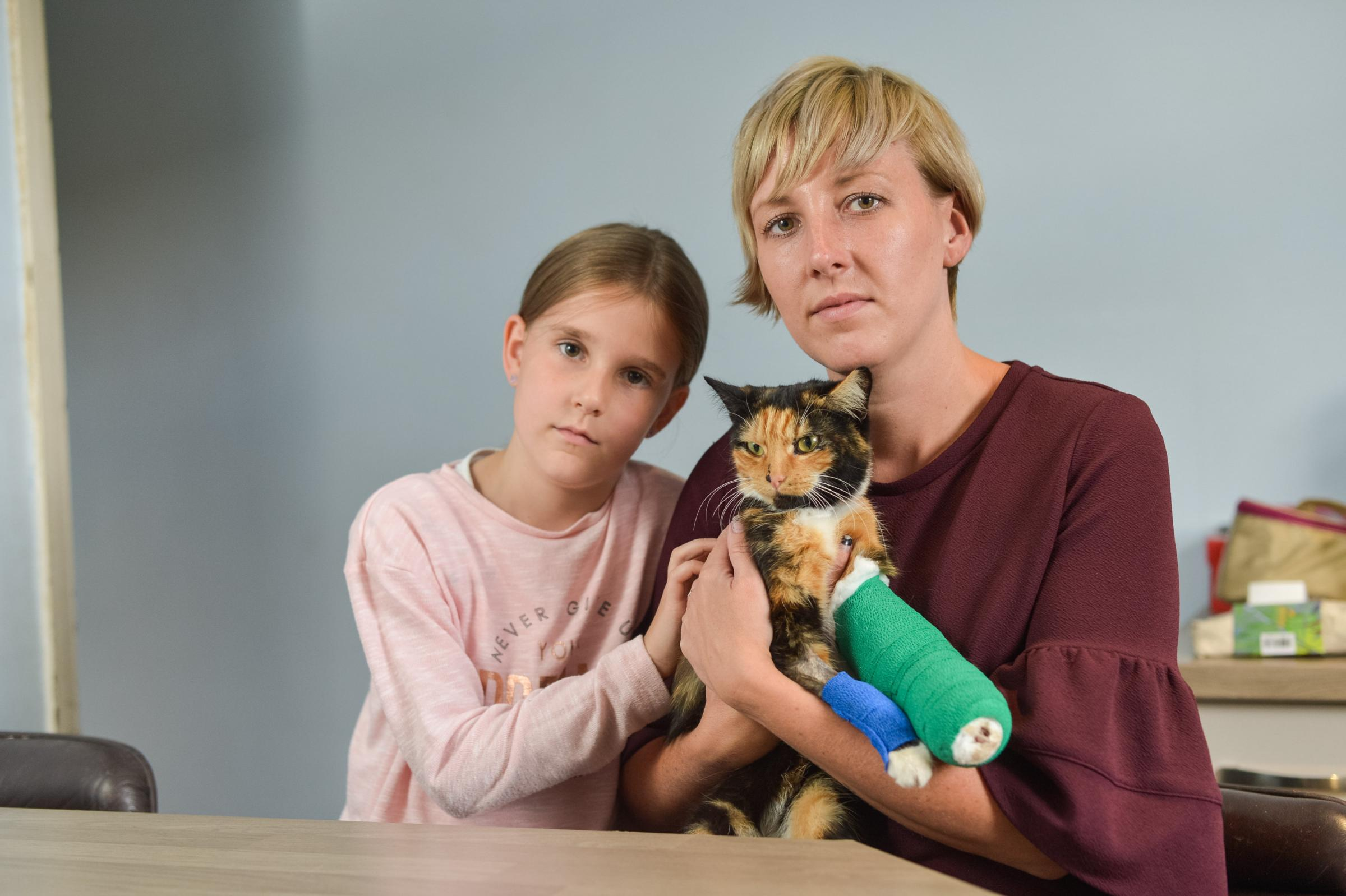 Jodie Barratt and her daughter Aliza, 7, with their cat Violet, who was caught in an illegal gin trap. Picture: Ross Parry.