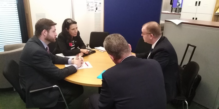 The meeting with Post Office officials, Jim McMahon is left next to Debbie Abrahams