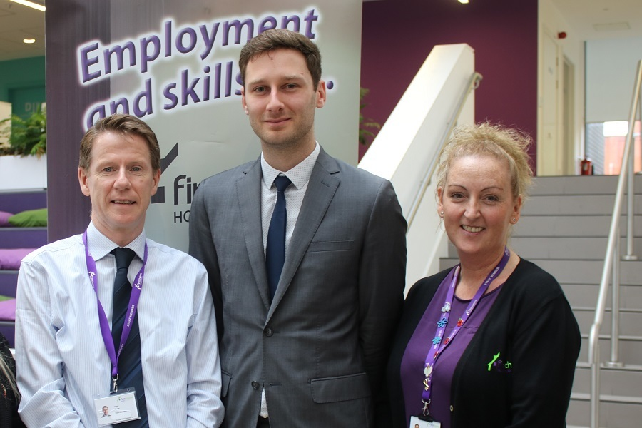 From left, Vinny Roche, chief executive of First Choice Homes Oldham, Cllr Sean Fielding, leader of Oldham Council and Mary Brooks, receptionist at First Choice Homes Oldham