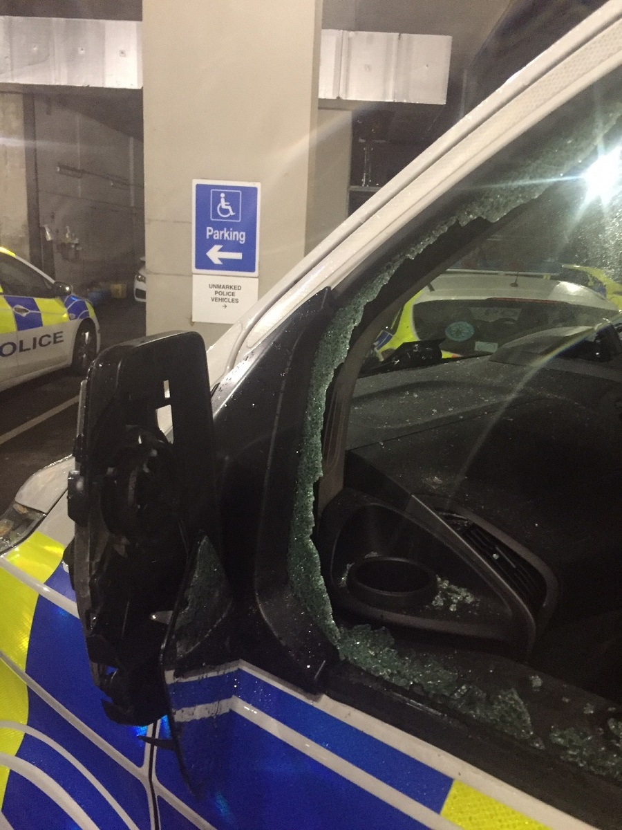 The police vehicle damaged in the attack