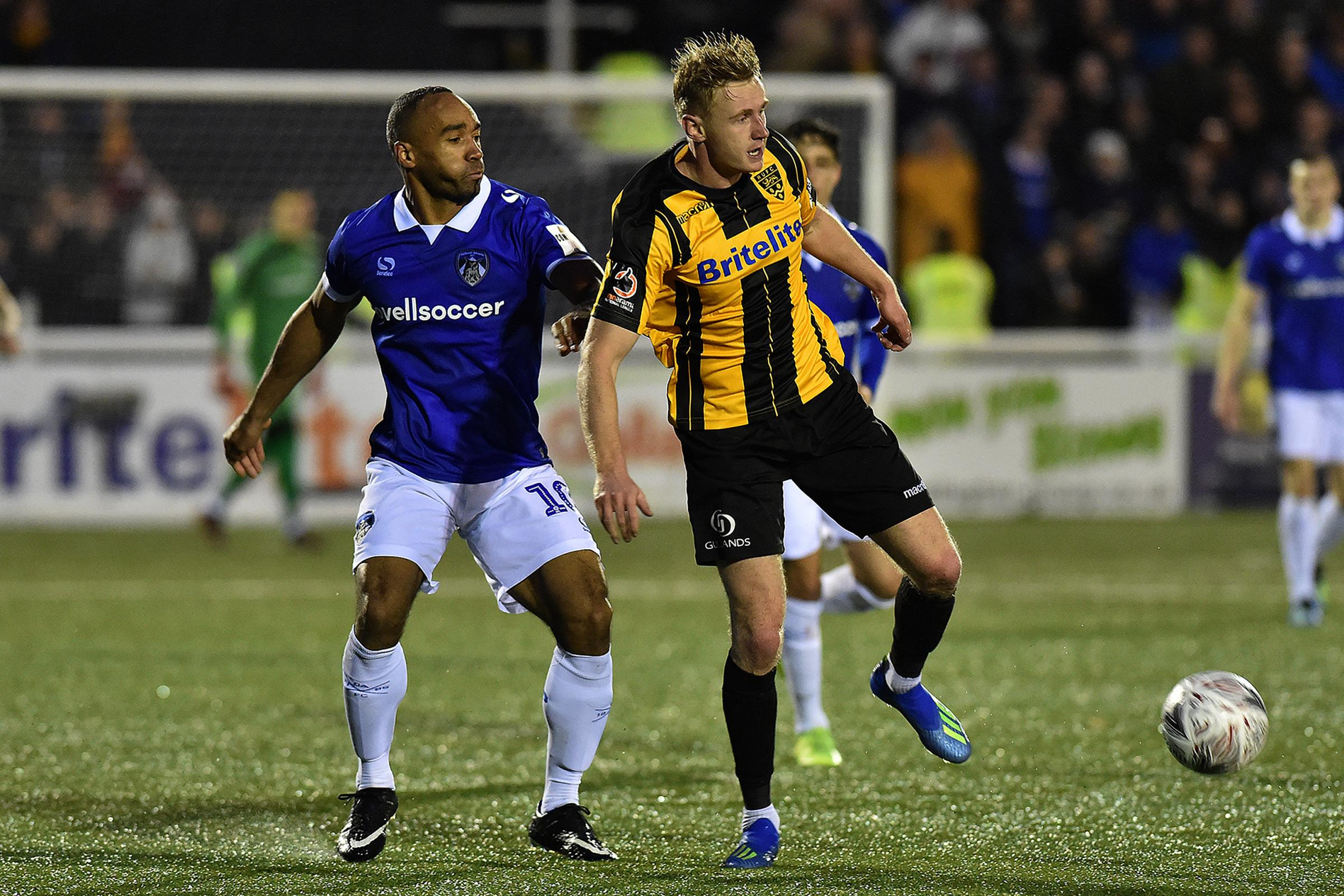 Maidstone United's George McClennan and Oldham's Chris O'Grady in action during the FA Cup 2nd round match between Maidstone United  and Oldham Athletic at the Gallagher Stadium, Maidstone on Saturday 1st December 2018. (Credit: Eddie Garvey).