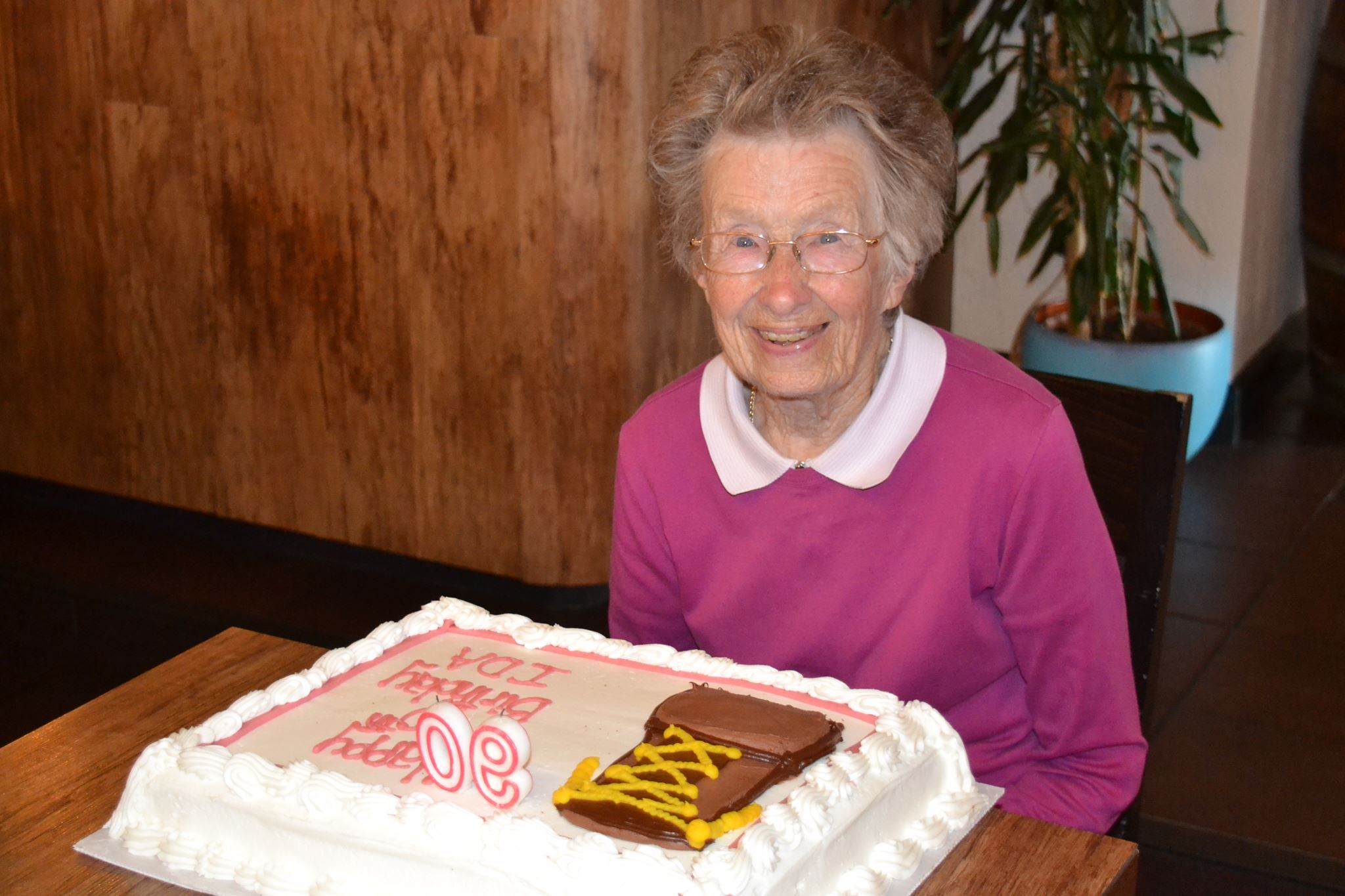 Ida Ashworth when she celebrated her 90th birthday\