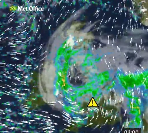 50mph winds have been forecast for this evening, Wednesday. Pic credit: Met Office