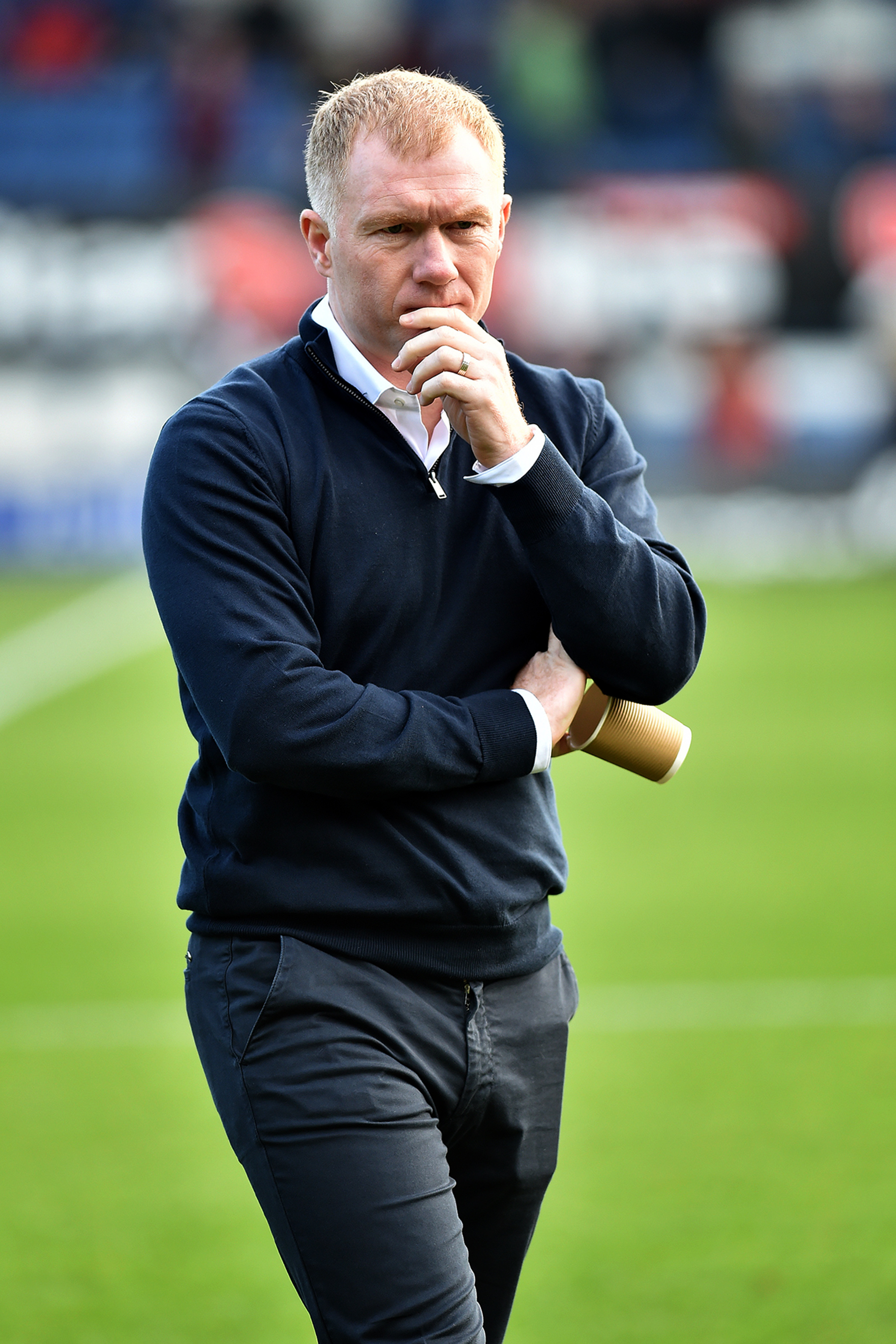 LATE BLOW: Oldham boss Paul Scholes saw his side concede in stoppage time against Stevenage