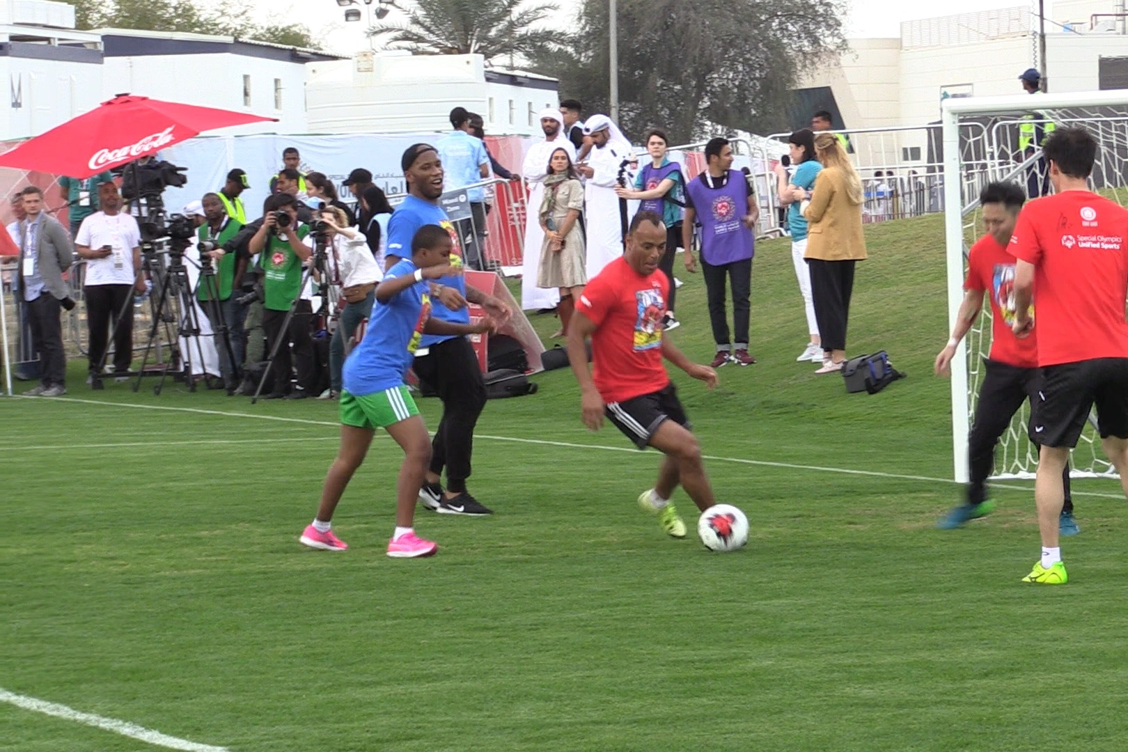 Didier Drogba and Cafu participate in a Unified Sports Experience in Abu Dhabi