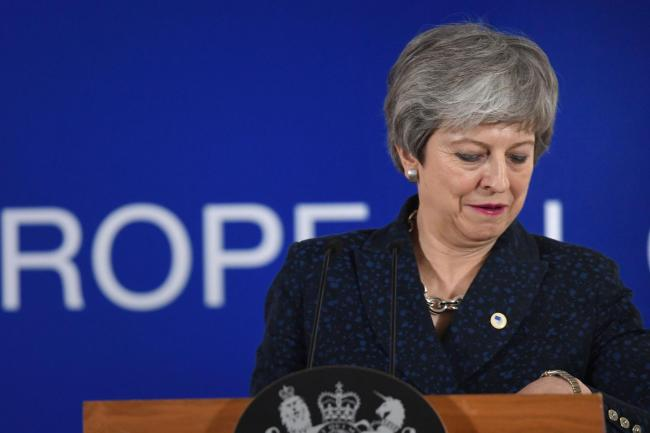 Prime Minister Theresa May giving a statement about Brexit at the European Leaders' summit in Brussels. PRESS ASSOCIATION Photo. Picture date: Thursday March 21, 2019. See PA story POLITICS Brexit. Photo credit should read: Stefan Rousseau/PA Wire.