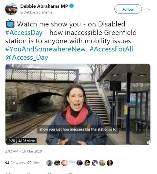 MP Debbie Abrahams takes to Twitter on the accessibility to train stations issue