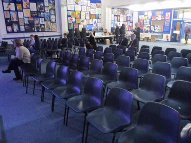 Empty chairs at Saddleworth Literary Festival