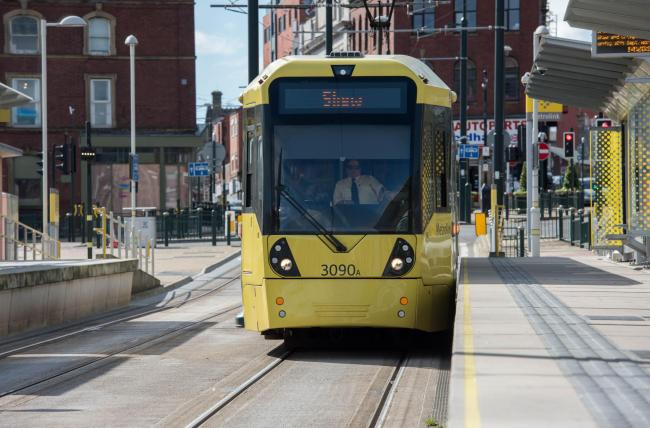 Metrolink tram at Oldham Mumps stop