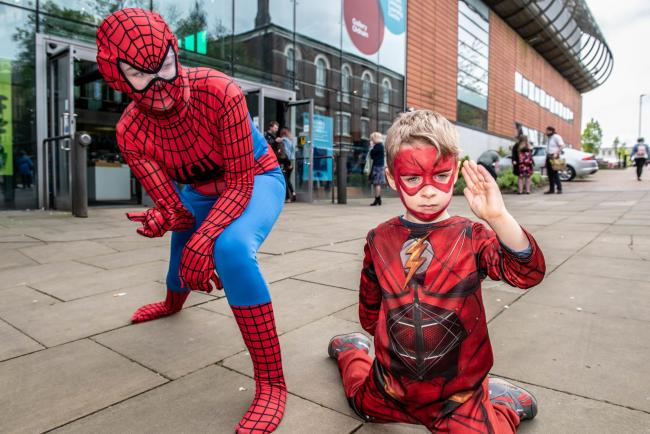 Spidermen Alice Graves and Elliott Hall aged five at Oldham Comic Con.