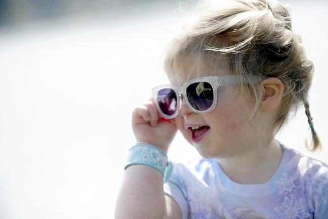 Violet Proud aged two of Darcy Lever enjoys her sunglasses in Moses Gate Country Park...People enjoyed the lovely weather over the Easter Half Term. Photo by Nigel Taggart, Newsquest (Bolton) Ltd, Wednesday April 8, 2015.