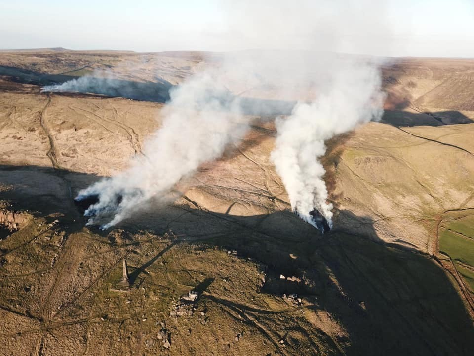 An aerial shot of the Pots and Pans fire earlier this week