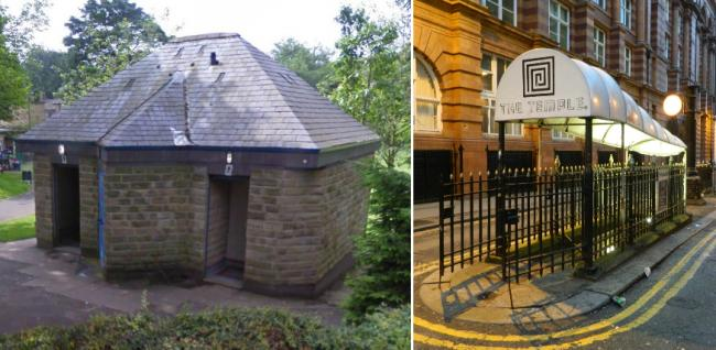 Left, the toilets in St Chads Gardens, Uppermill and right, the Temple Bar in Manchester city centre. Photo: Oldham council/Wikimedia commons